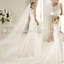 WD4036 New design scoop neckline sheer back embroider organza top long veil 2012 cap sleeve appliqued tulle wedding dress