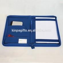 Blue A4 Leather Document Portfolio Case Organiser
