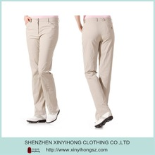 OEM Breathable Polyester Spandex Khaki Golf Trousers For Woman