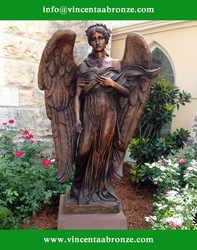 2015 high qualily home decor bronze life size angel statue