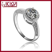 Rhodium Plated Silver Ring,KISVI 925 Sterling Silver Jewelry ,big stone mens ring