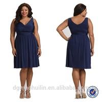 2015 summer dress deep v-neck cocktail dress plus size clothing for fat women