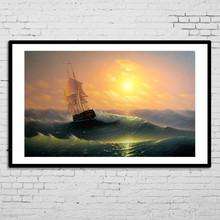Wholesale wall art beautiful sea wave scenery oil painting