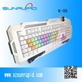 Con retroiluminación led de teclado para juegos, la computadora multimedia teclado con teclas de color para la niña las mujeres