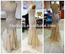 Sweetheart Crystal Beading Mermaid Custom Made Floor Length Designs Real Photo Long Evening Party Wear ED139 Evening Long Dress
