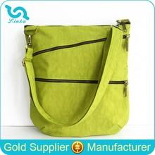 Apple Green Crinkle Nylon Cross Body Bags Women Washed Nylon Shoulder Bag