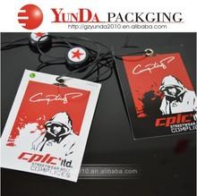 2015Custom China clothing hang tag and lable/wholesale garment hang tag