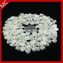 Hot sales plastic heart pearl beads,flatback heart shaped pearl,loose nail pearl beads for nail art