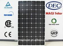MGSM250-60 250W Monocrystalline solar pv Panels, JET, CB,TUV,CEC,CSA, Brazil INMETRO