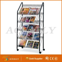 retail store mobile metal wire used magazine racks
