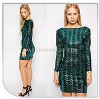 2015 hot fashion Emerald Green low back long sleeve evening dress