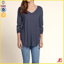 ladies long sleeve rounded hem elongated t shirt