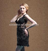 2015 latest see- through fish bone black lace appliqued short party dresses