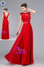 Real Sample CL-E116 suzhou factory customizedRed A-line Chiffon Skirt Beaded Appliqued Evening Gown