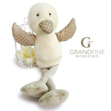 soft velvet yellow duck doll with long legs in high quality from Shanghai company with EU standard