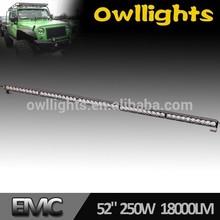 OWL LIGHTS high quality 50inch 250W C ree offroad led light bar, Car parts 50'' curved led light bar off road trucks 4x4