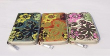 Fashion wholesale flowers printing ladies hand wallete/purse for women