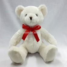 ODM OEM red bowtie white bear plush 25cm / logo printing soft toy bear plush