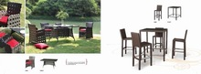 Stackable garden rattan coffee table and chair for outdoor