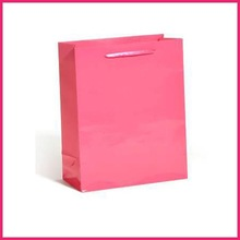 ribbon handle pink color promotion fashional paper bag