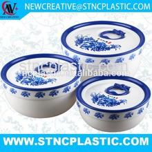 ROUND SHAPE BLUE AND WIHTE PRINT 3PCS SET PLASTIC VACUUM BOX