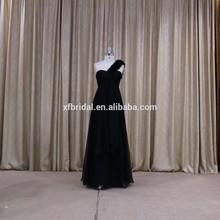 Delicate one shoulder floor length black evening dress pron 2015 new arrival