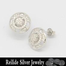 Factory price 925 sterling silver earrings cz stud earrings rose shape 925 sterling silver jewelry wholesale