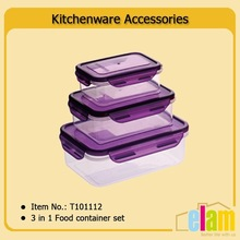 3 in 1 rectangle airtight food storage plastic containers