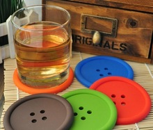 DHL Freeshipping Min 200pcs round silicone coasters cute button coasters Cup mat