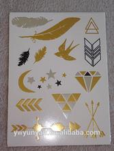 gold sliver foil temporary tattoo