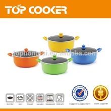 Colorful paint aluminum non stick sauce pot with lid