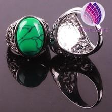 Hot sale unique fashion natural turquoise tibetan silver ring