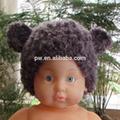 Frete grátis brown chapéu de crochê feito à mão malha chapéu do bebê do recém-nascido foto prop urso chapéu com orelhas