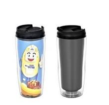 double wall plastic mug with lid and logo/travel mug