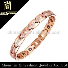 Ladies cubic zircon stainless steel energy core bracelet