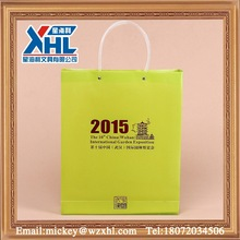 2015 promotional green shopping gift bag with pipe handle