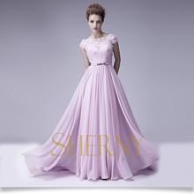 Sherny Bridals Hand-Made Pregnant Evening Dress, Appliqued Short Sleeve Chiffon Evening Dress 2014