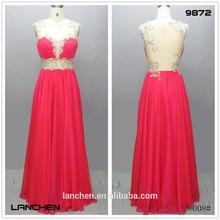 9872 Chaozhou High Quality Hand Beaded A line Chiffon Evening Dress 2015