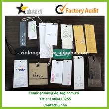 2015 High quality Custom fashion elegant clothing hang tags and labels