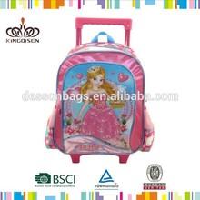 Brand new custom design kids school bag with wheels for girls
