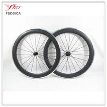 20.5mm/23mm/25mm wide Cheap carbon wheels Farsports 700C 60mm road clincher Aluminum carbon bicycle Wheelset 3k matt + Bitex hub