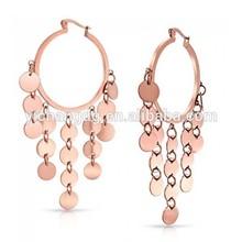 Steel Cascade Chandelier Rose Gold Plated Hoop Earrings