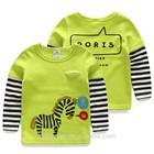 Tx3880 wholesale fashion children Autumn child clothes kids clothing boys Korean 2015 latest new striped pony long t-shirt shirt