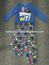 2015 cvc fleece sexy winter pajamas with allover prints for toddler boy