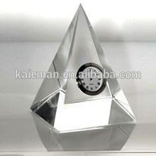 fashion crystal gift , crystal table clock, pyramid crystal clock