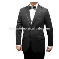 China Supplier Men Custom Made Black 2-button Suits Beautiful Design