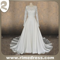 A Line Long Sleeve Jewel Court Train Lace over Satin Wedding Dress with Sash-IBS41282