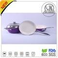 4 pc de aluminio no- palo de recubrimiento de cerámica de color púrpura de menaje de cocina