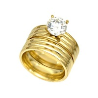 Golden stainless steel zircon ring