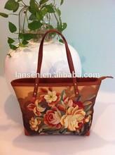 New desigh!Manufacture sell silk embroidery flower beach bag